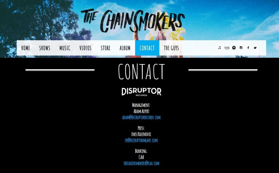 The Chainsmokers  – HomeのWEBデザイン