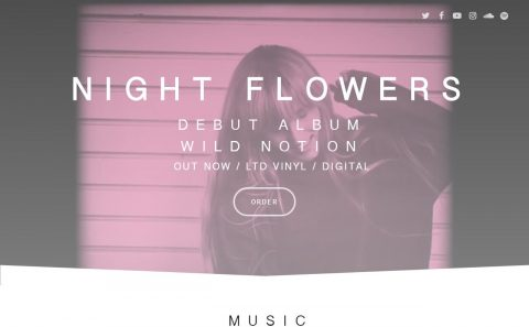 Night Flowers – Debut Album Wild Notion Out NowのWEBデザイン