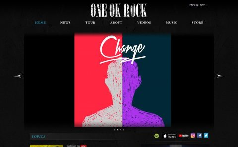 ONE OK ROCK official websiteのWEBデザイン