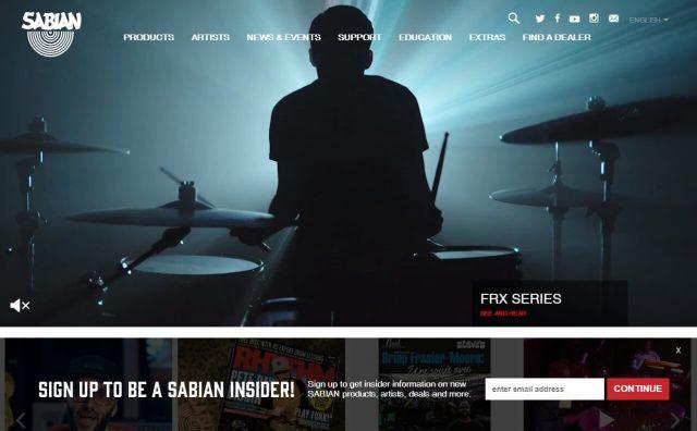 Home | SABIAN CymbalsのWEBデザイン