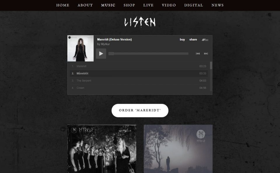 MYRKUR – Official website of Danish composer, vocalist and classically trained multi-instrumentalistのWEBデザイン