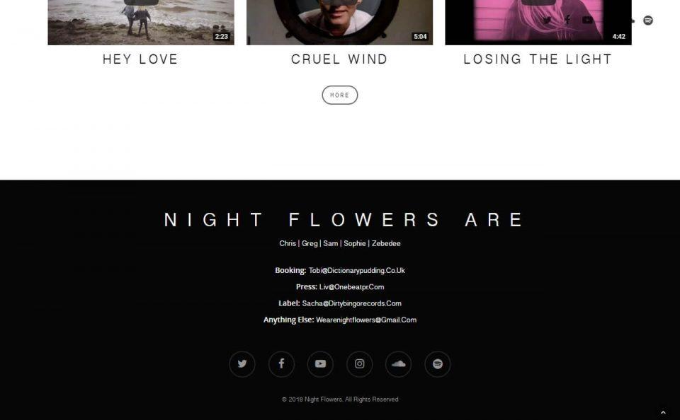 Night Flowers – Debut Album Wild Notion Out NowのWEBデザイン