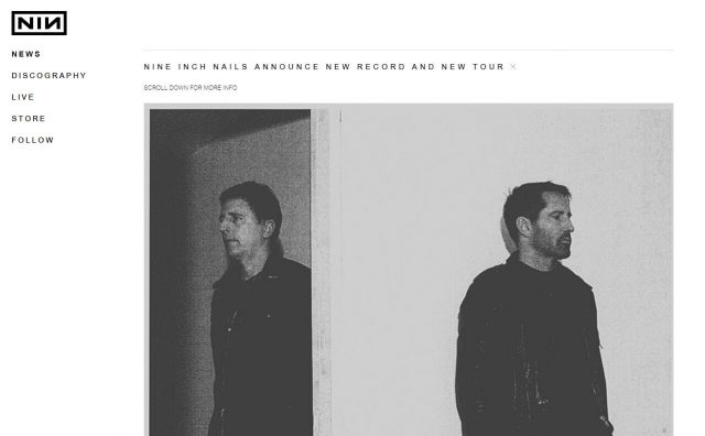 nine inch nails | the official websiteのWEBデザイン