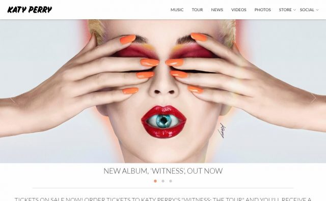 Katy Perry | WITNESS. THE ALBUM. THE TOURのWEBデザイン
