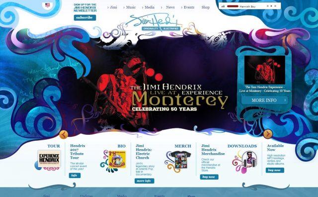 Jimi Hendrix | The Official Jimi Hendrix SiteのWEBデザイン