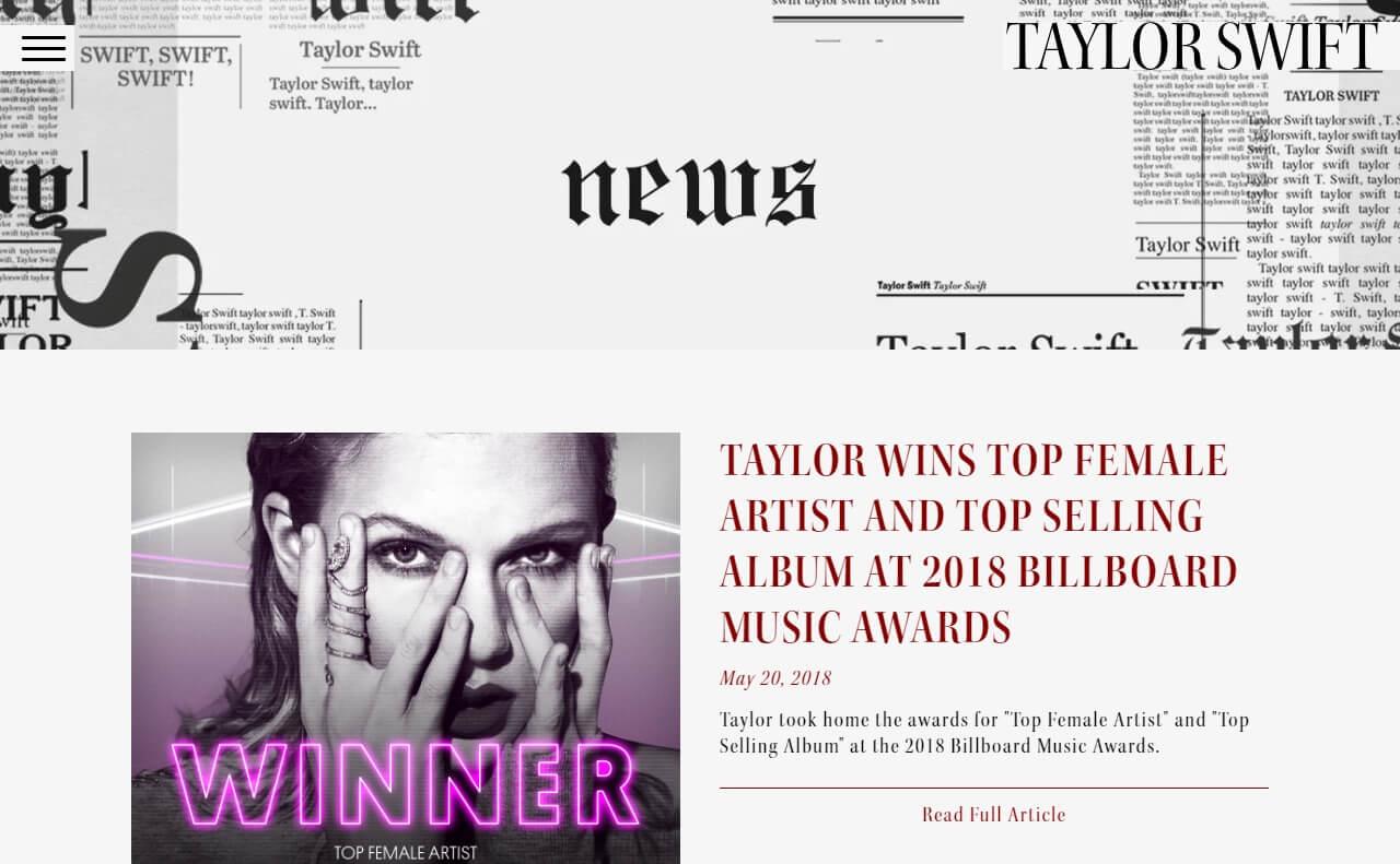 Taylor Swift – Taylor Swift – End Game ft. Ed Sheeran, FutureのWEBデザイン