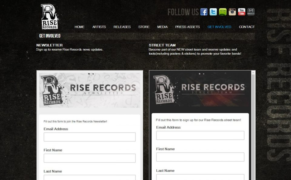 Rise Records – HomeのWEBデザイン