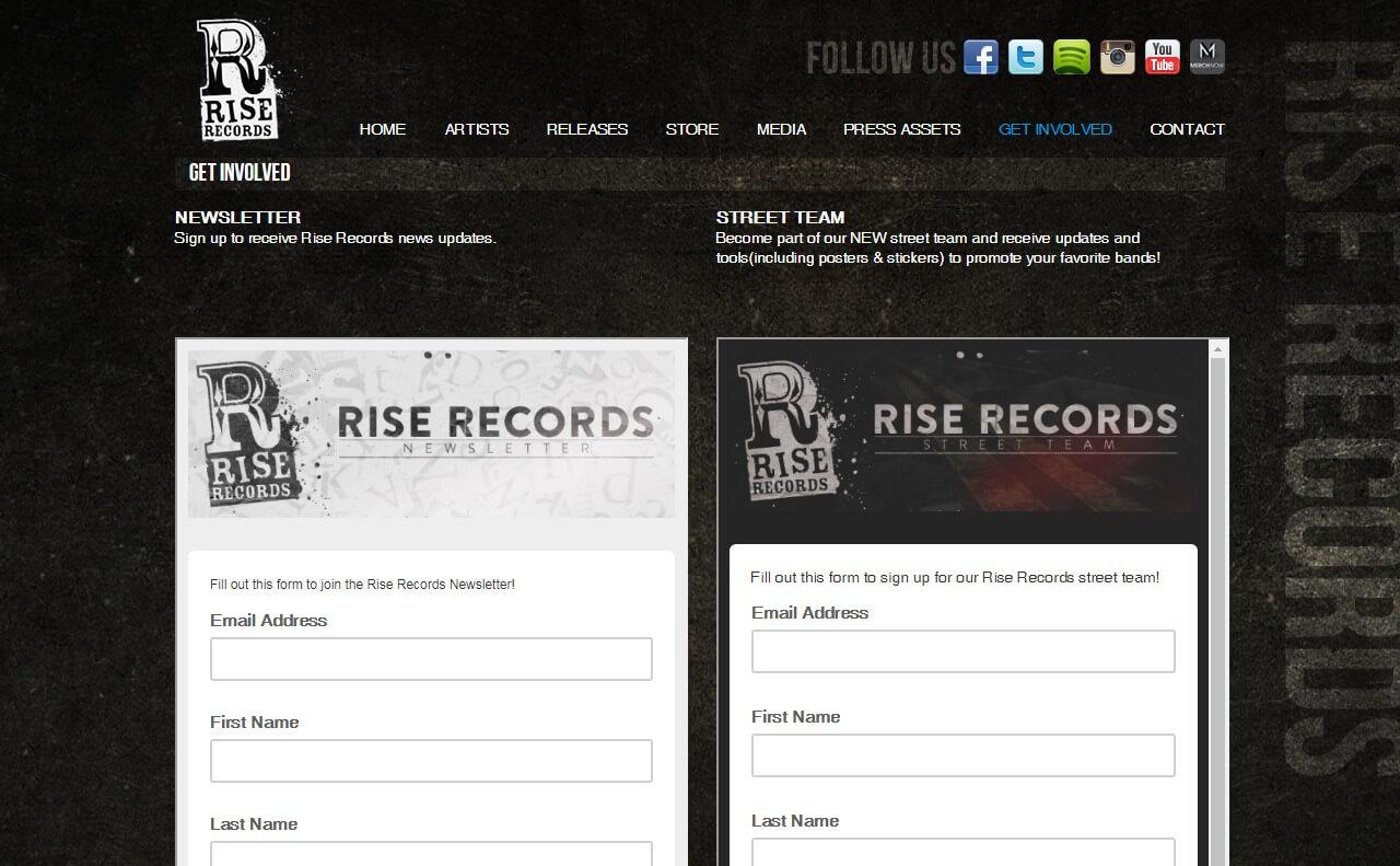 Rise Records – HomeのWEBデザイン