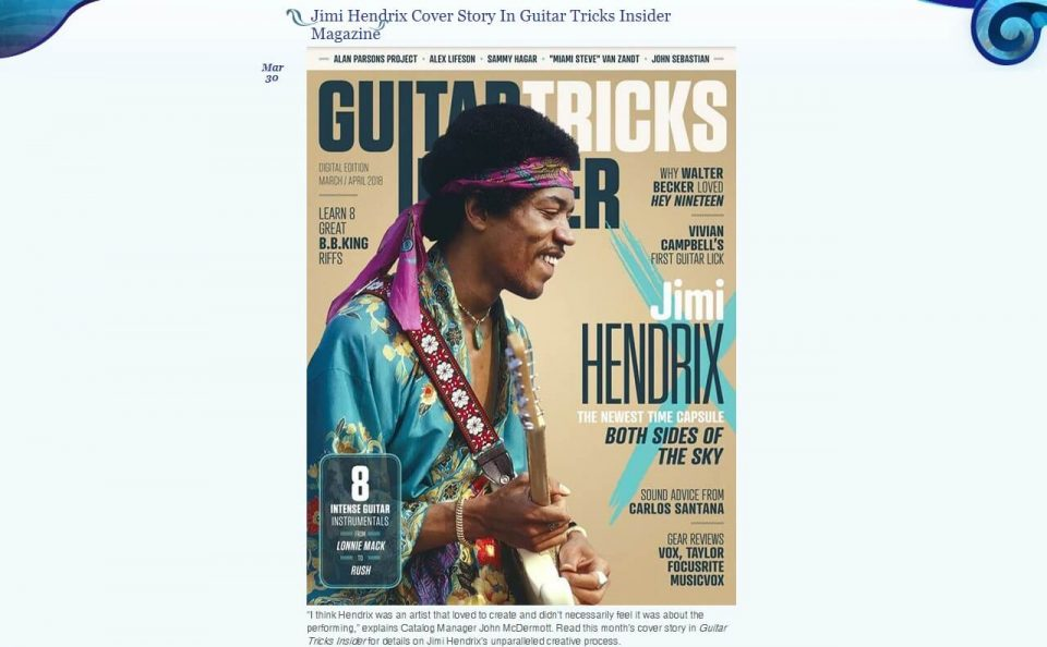 Jimi Hendrix | The Official Jimi Hendrix SiteのWEBデザイン