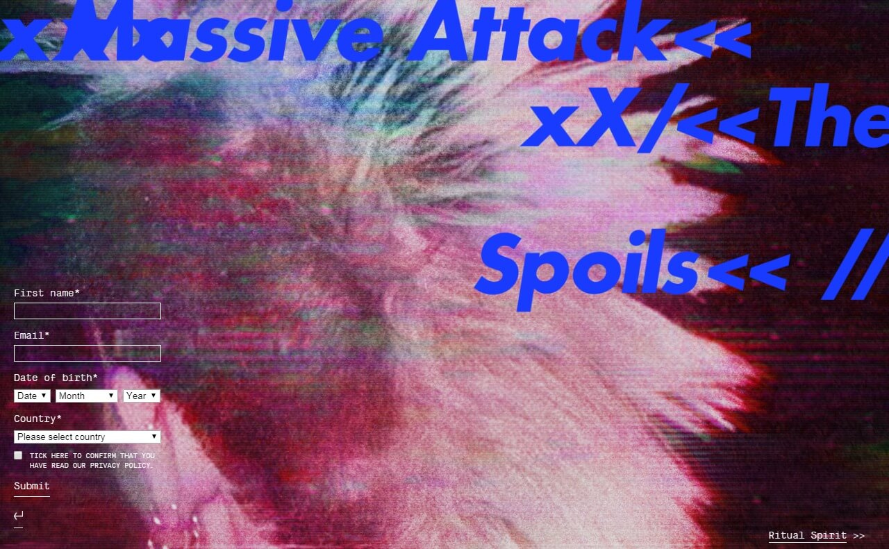 Home – Massive AttackのWEBデザイン