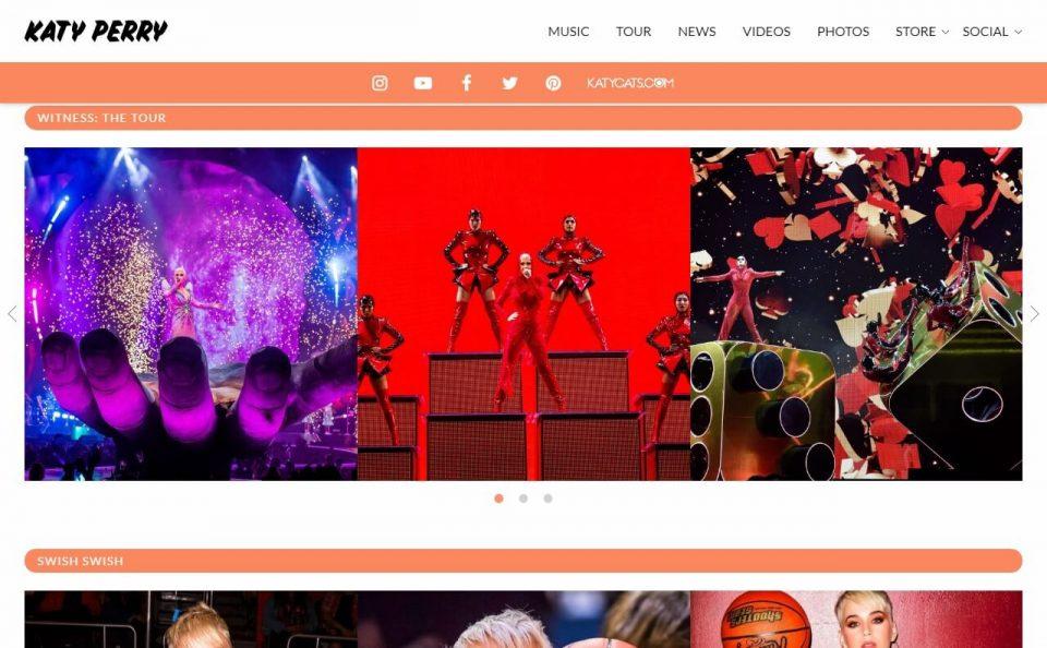 Katy Perry | WITNESS. THE ALBUM. THE TOURのWEBデザイン