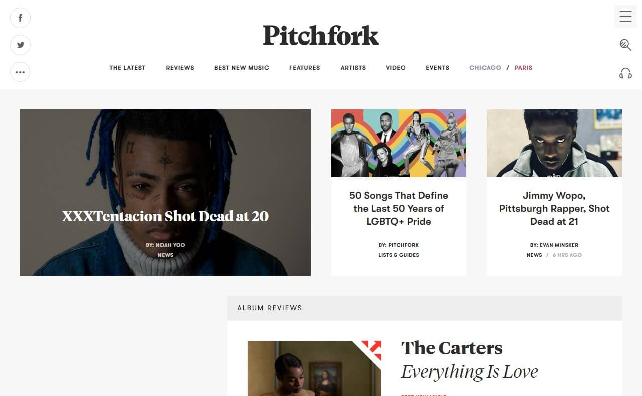 Pitchfork | The Most Trusted Voice in Music.のWEBデザイン