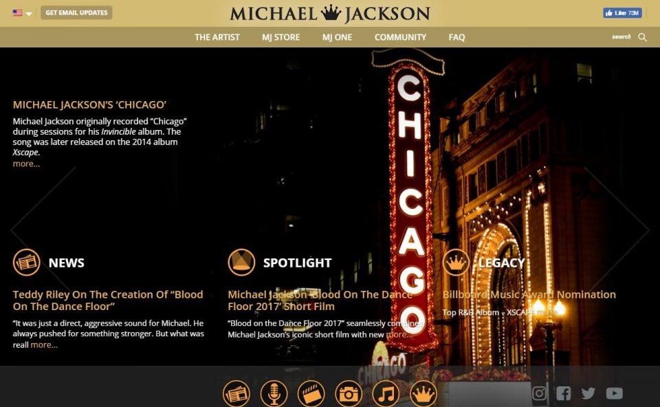 Home | Michael Jackson Official SiteのWEBデザイン