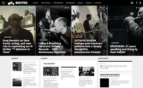 IDIOTEQ.com – DIY Hardcore Punk & Experimental Music News & InterviewsのWEBデザイン