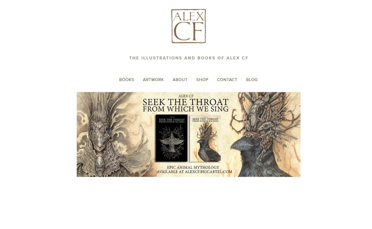 The illustrations and books of Alex CFのWEBデザイン