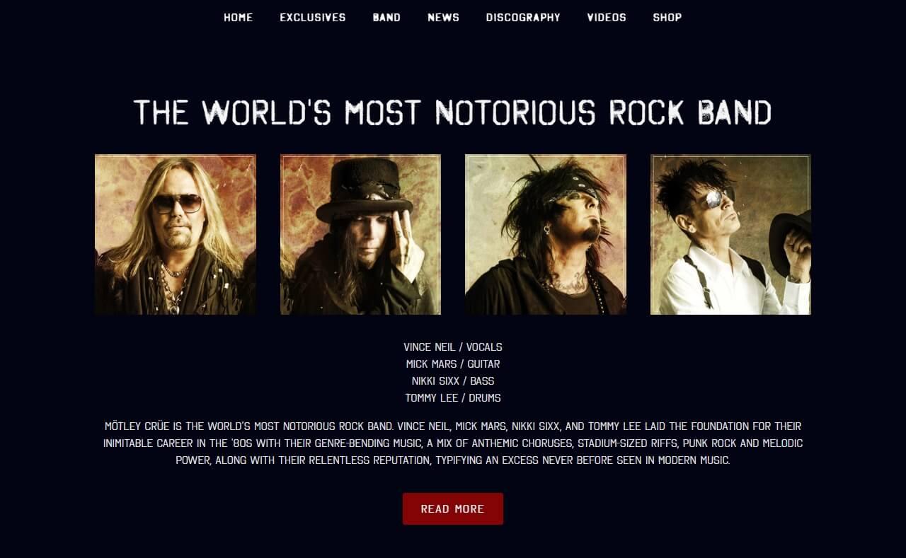 Mötley CrüeのWEBデザイン