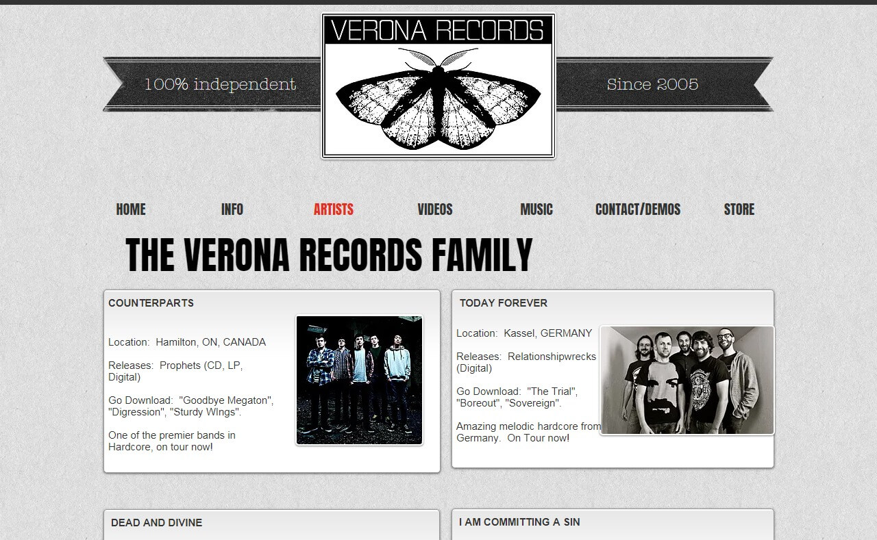 Verona RecordsのWEBデザイン
