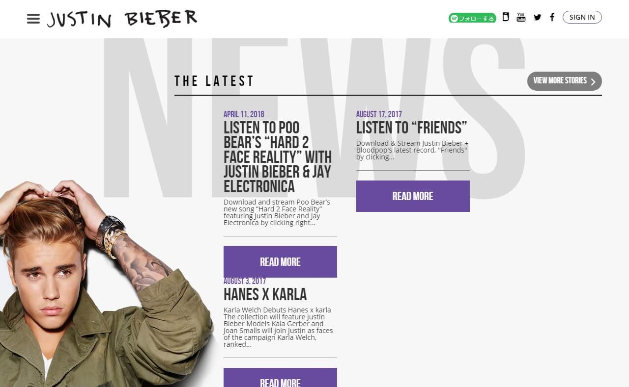 Justin Bieber – Purpose Available NowのWEBデザイン