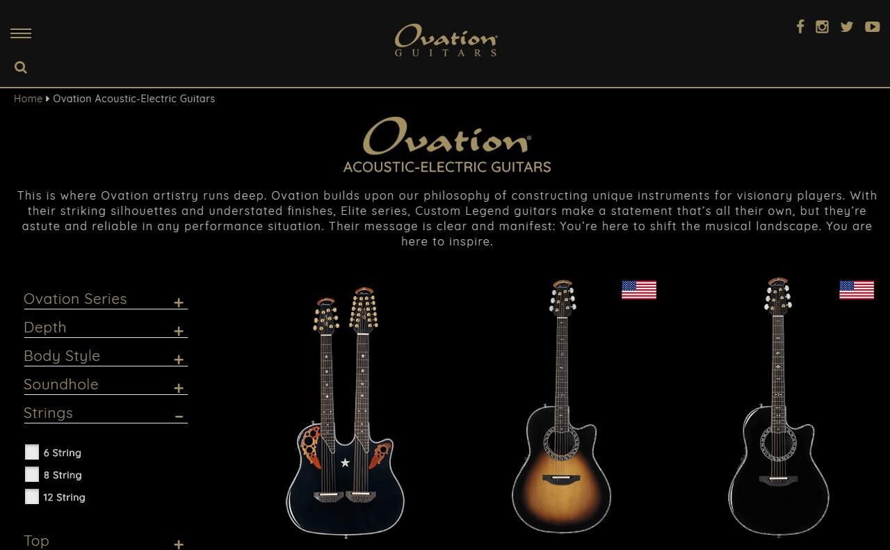 Ovation GuitarsのWEBデザイン