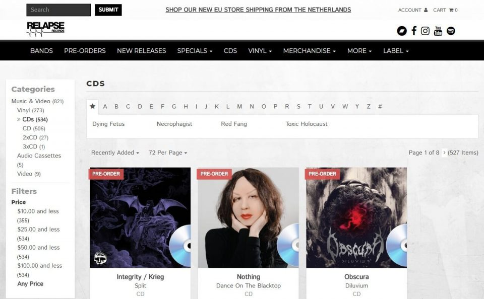 Relapse Records Official StoreのWEBデザイン