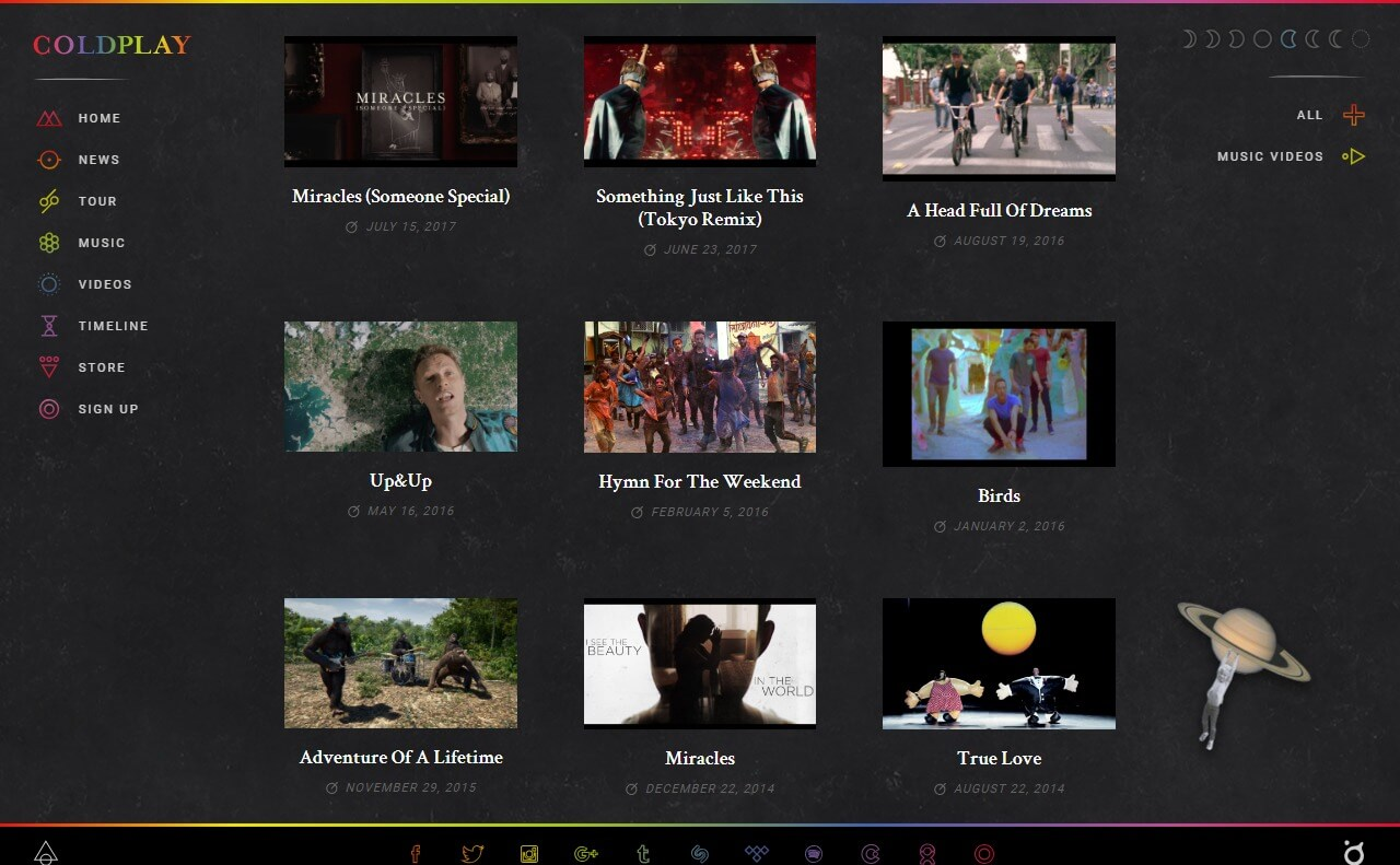 Coldplay official websiteのWEBデザイン
