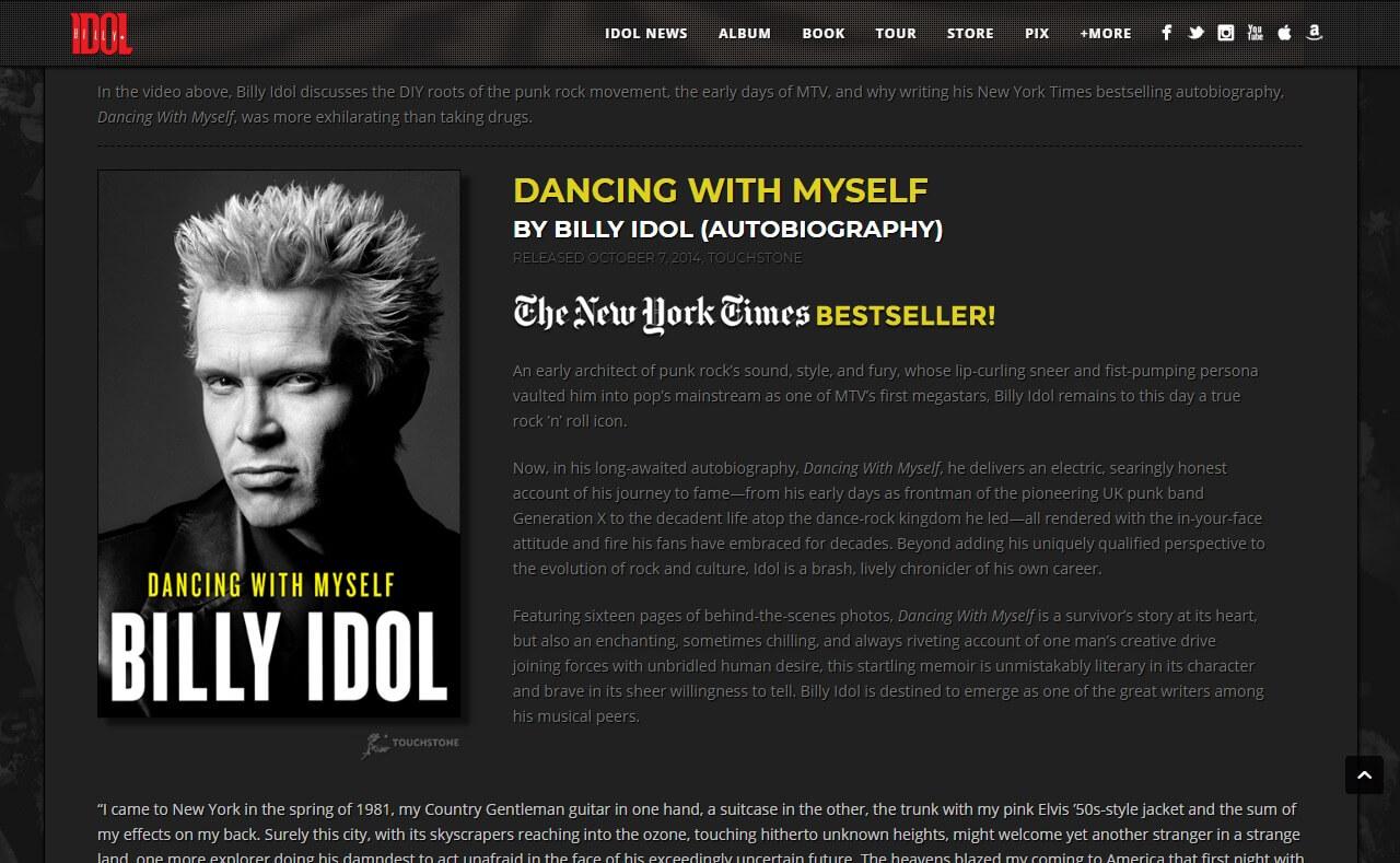 Billy IdolのWEBデザイン