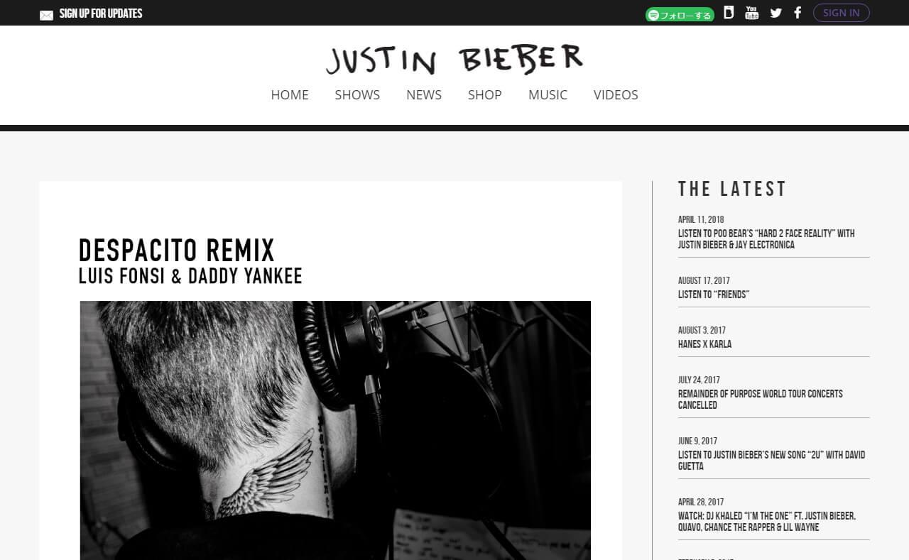 Justin Bieber – Purpose Available NowのWEBデザイン