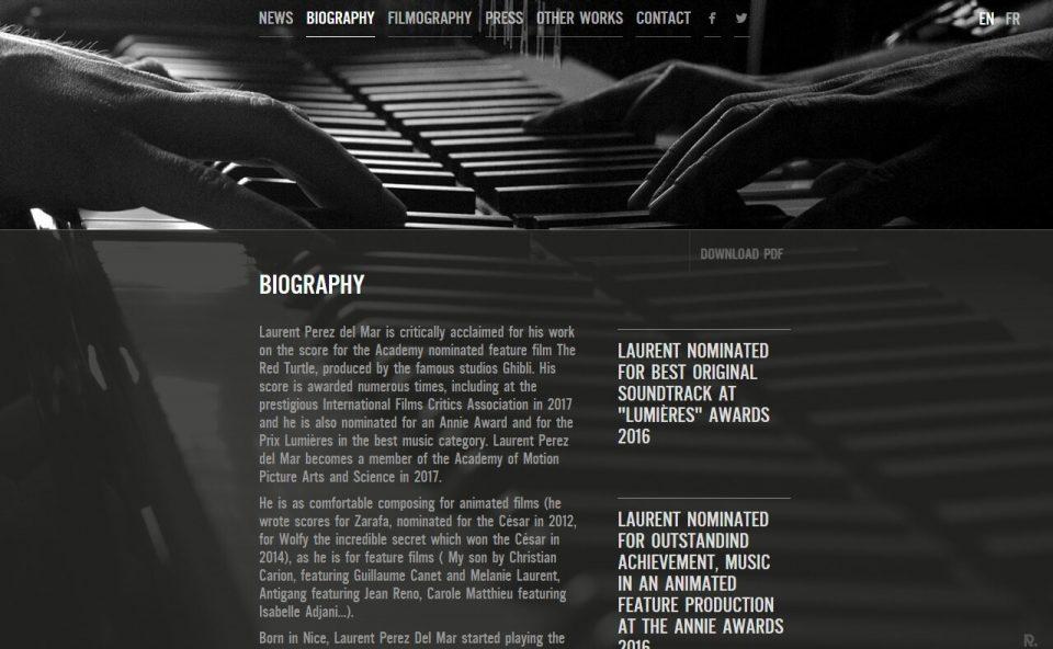 Laurent Perez Del Mar – Feature films music composerのWEBデザイン