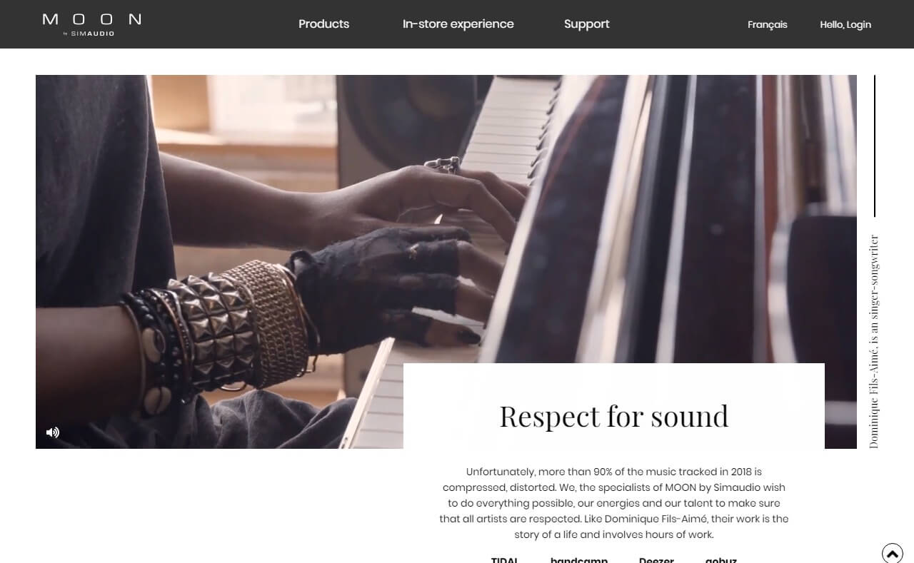 High End Audiophile Amplifiers And Sound Systems | MOON – SimaudioのWEBデザイン