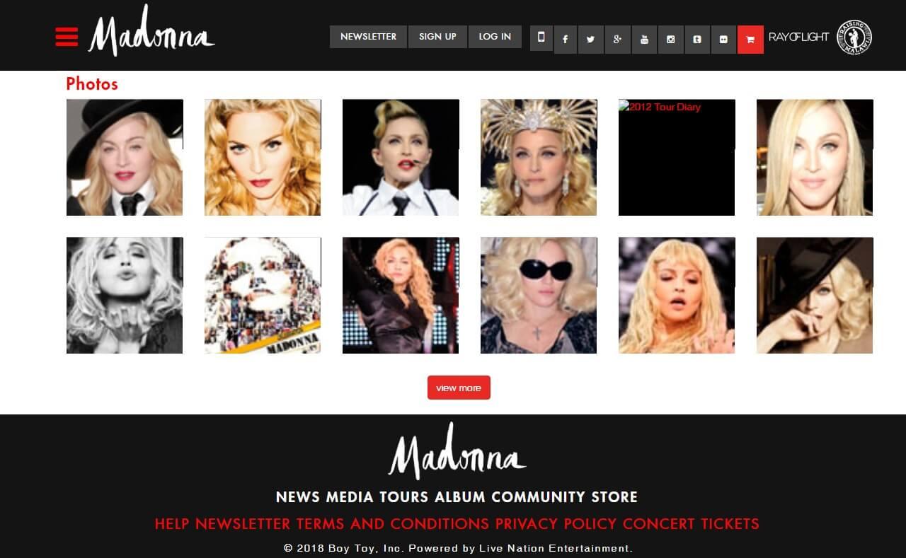 Madonna.com > HomeのWEBデザイン