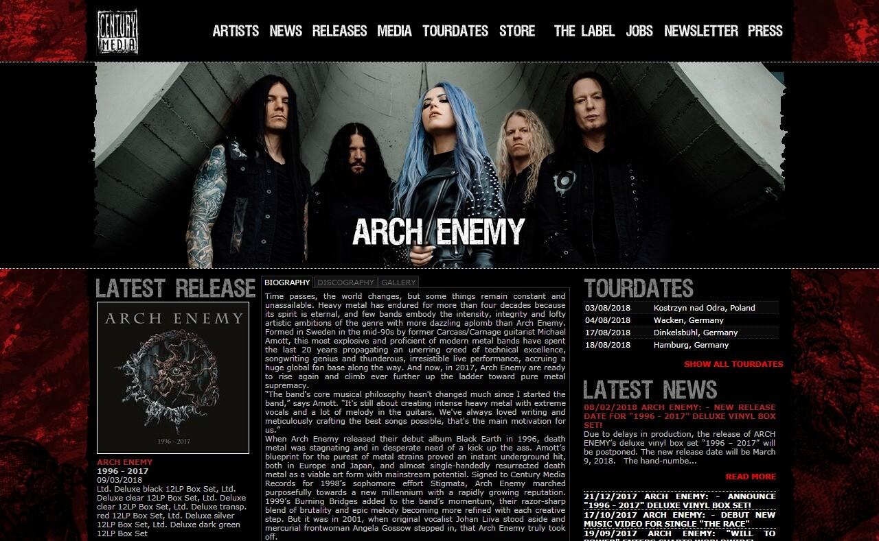 Century Media Records – Quality in MetalのWEBデザイン