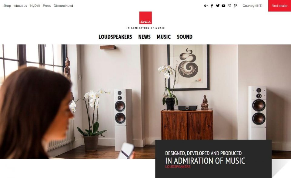 DALI Speakers | Danish made, award-winning Hi-Fi SpeakersのWEBデザイン