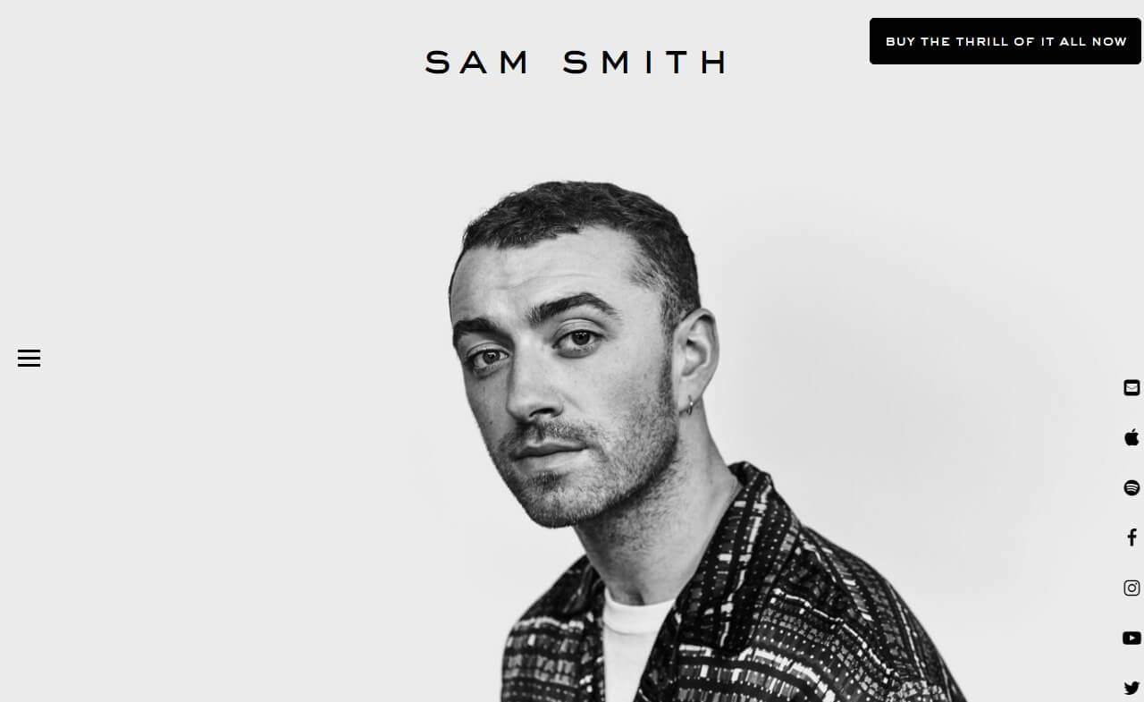 Sam Smith | Home – Sam SmithのWEBデザイン