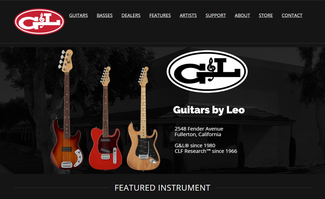 G&L Musical Instruments | Made in Fullerton Since 1980のWEBデザイン
