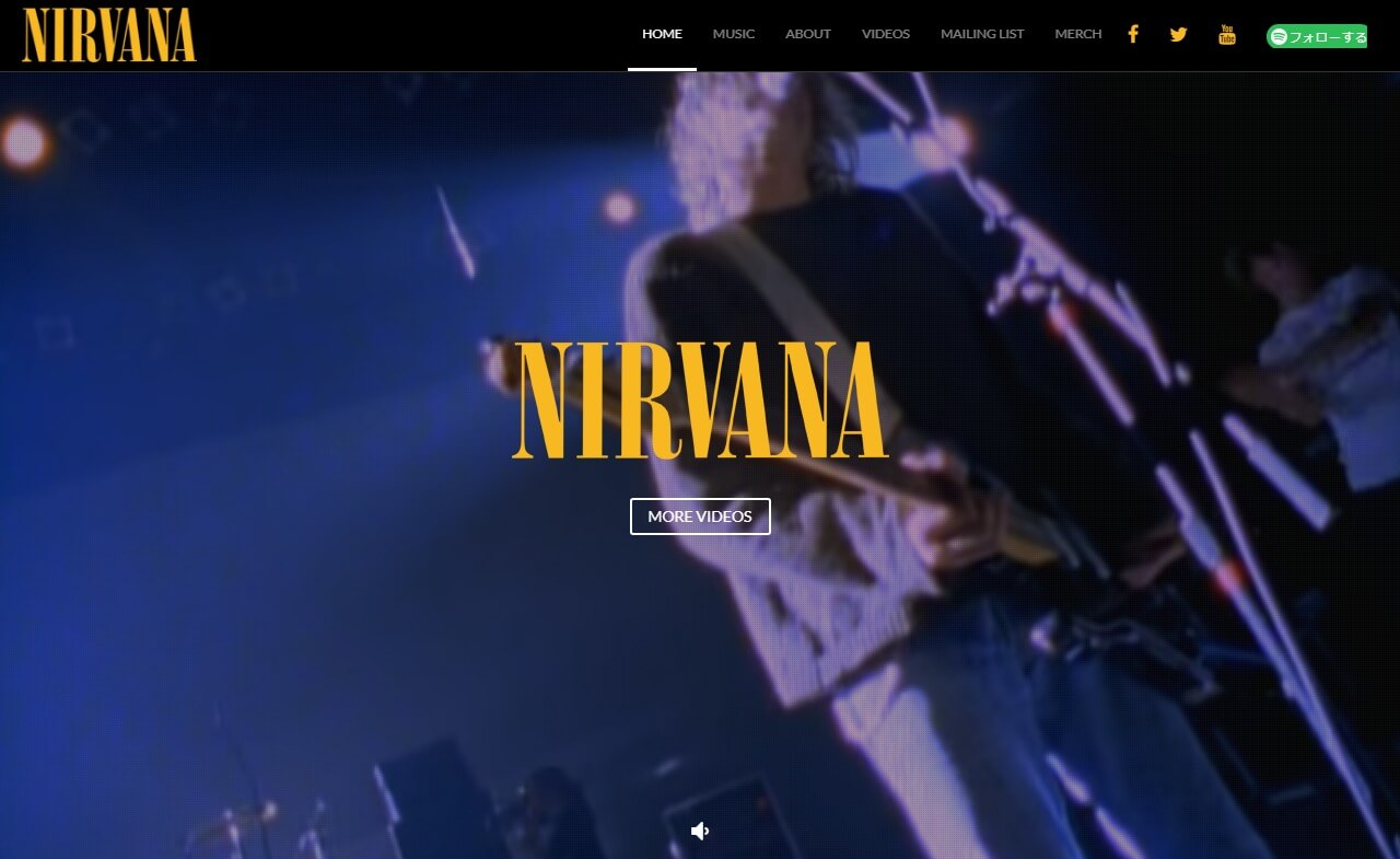 Official Nirvana Website: Complete Discography, Videos and moreのWEBデザイン