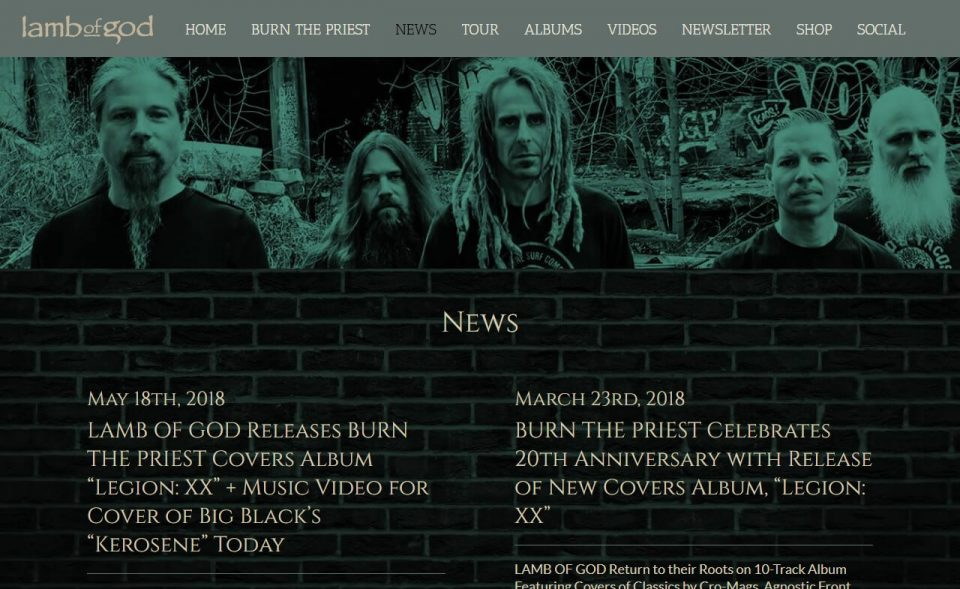 Lamb of God – Official WebsiteのWEBデザイン