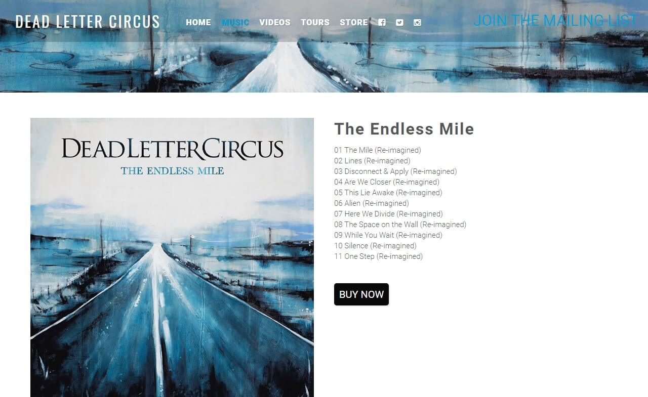 Dead Letter Circus – New album The Endless MileのWEBデザイン