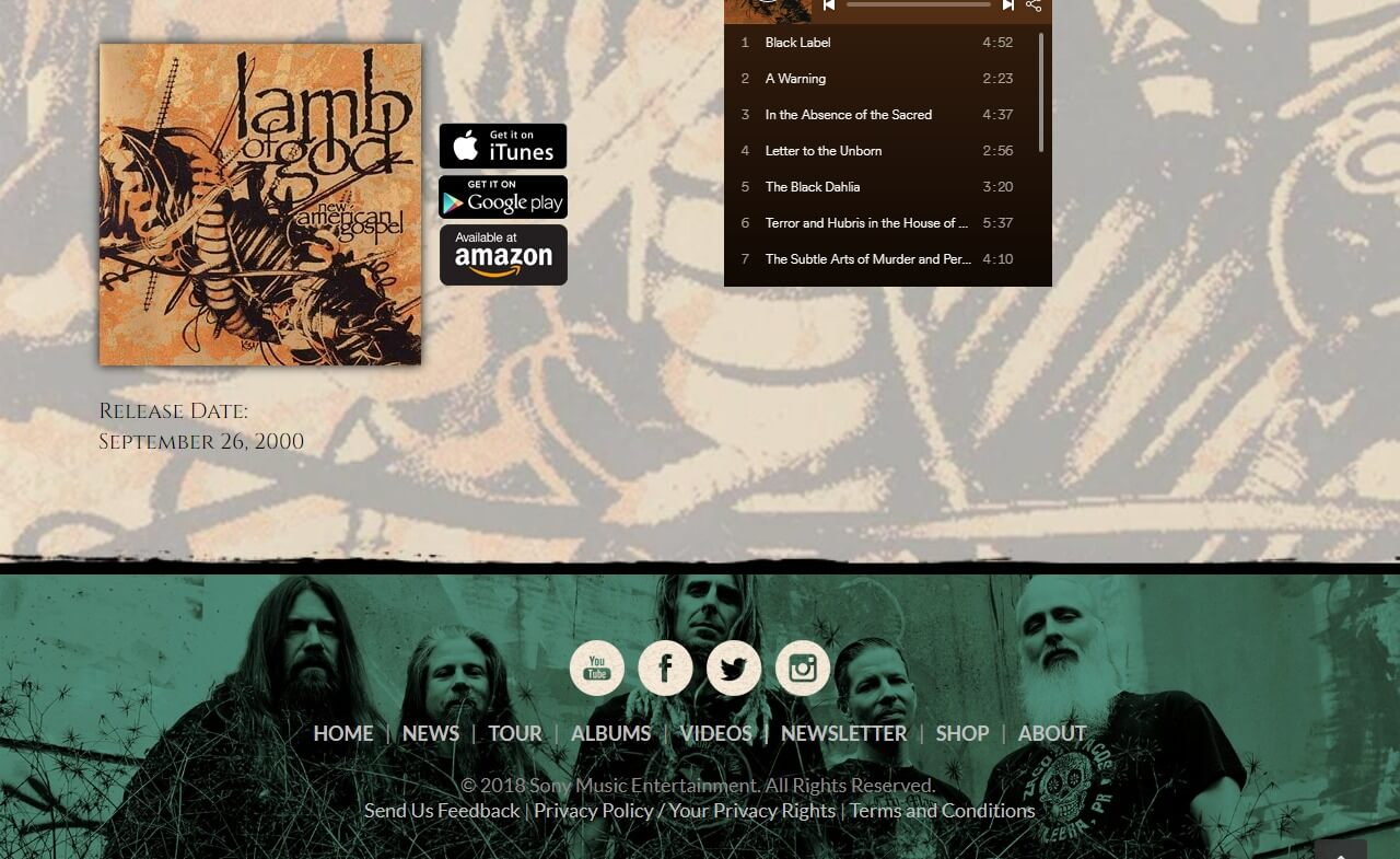 Lamb of God – Official WebsiteのWEBデザイン