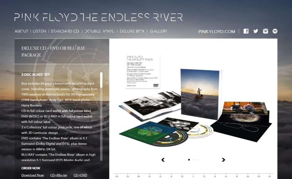 Pink Floyd Endless RiverのWEBデザイン
