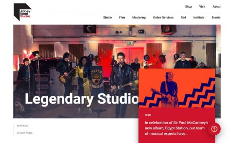 The Most Famous Recording Studios – Abbey Road StudiosのWEBデザイン