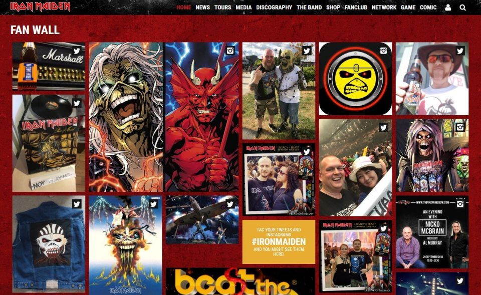 Iron Maiden  – Official WebsiteのWEBデザイン