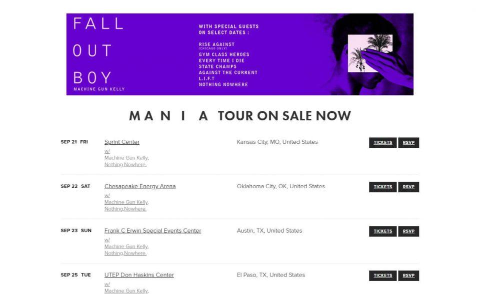 Fall Out BoyのWEBデザイン