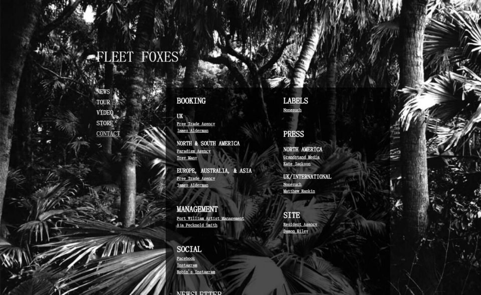 Crack-Up | Available Now – Fleet FoxesのWEBデザイン