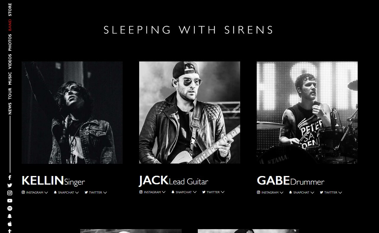 Sleeping With Sirens Official Website | New Album 'Gossip' Available NowのWEBデザイン