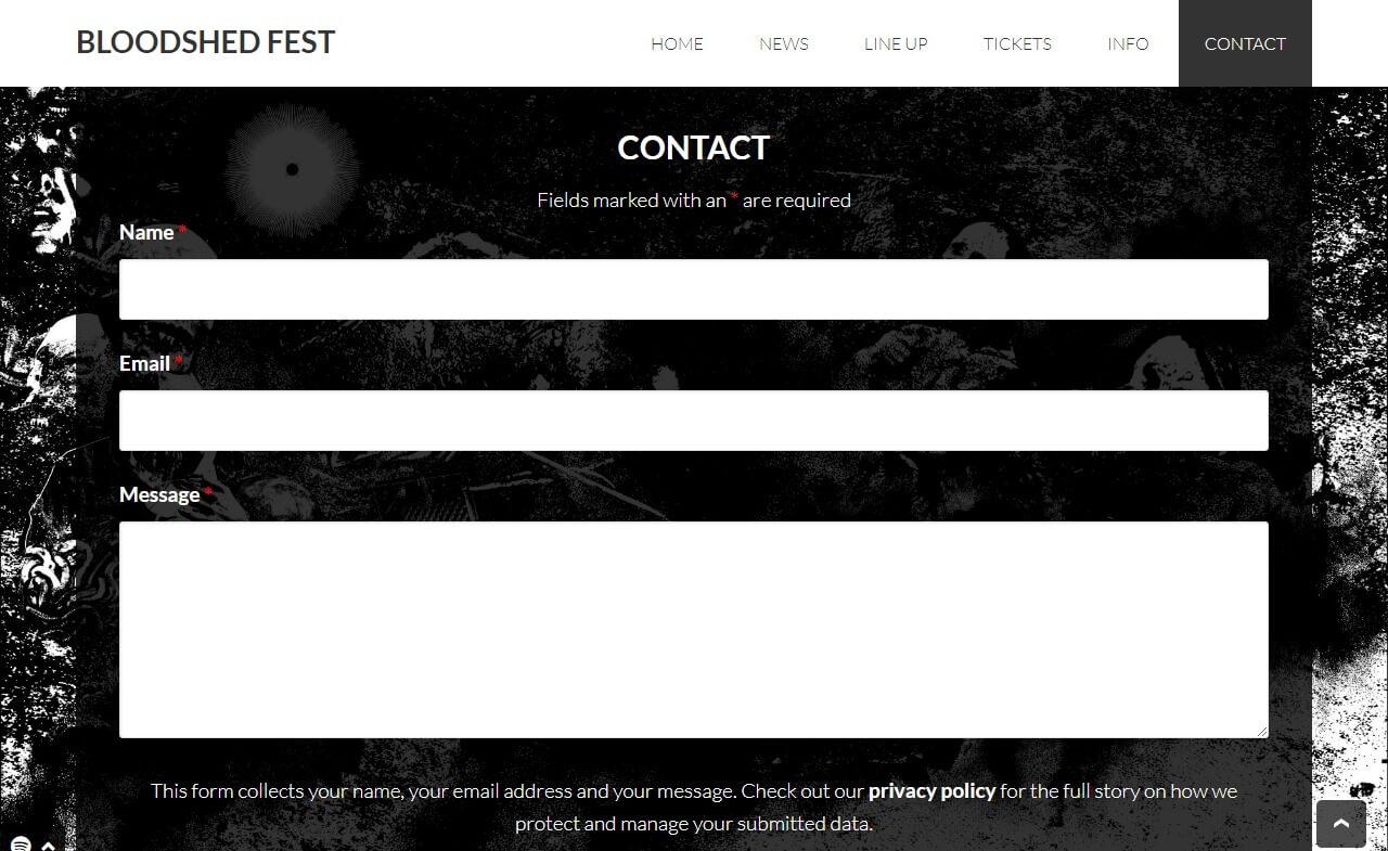 Bloodshed Fest 2018のWEBデザイン