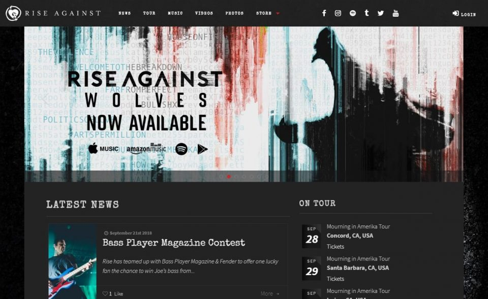 Rise Against | Official SiteのWEBデザイン