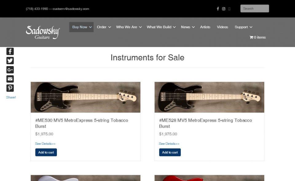 Home – Sadowsky GuitarsのWEBデザイン