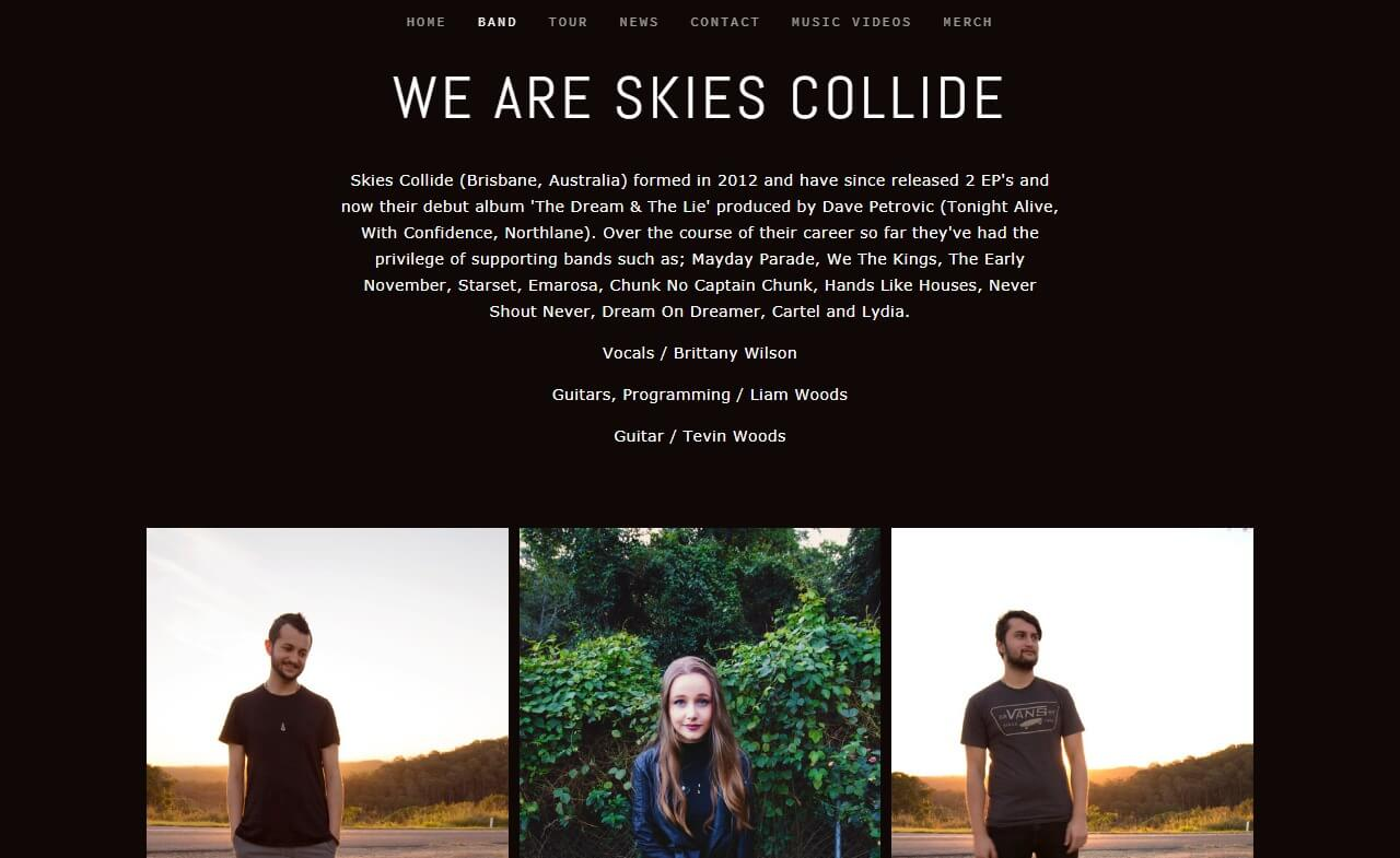 Skies CollideのWEBデザイン