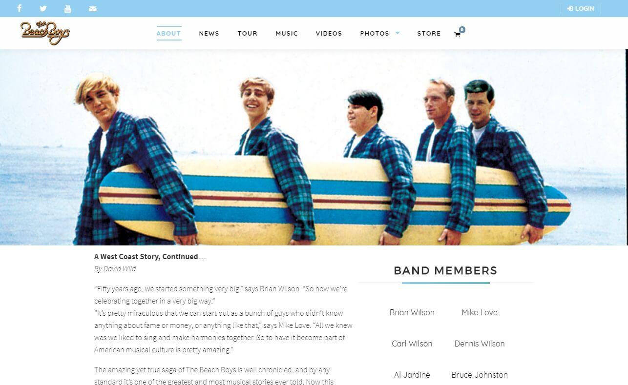 The Beach Boys | HomeのWEBデザイン