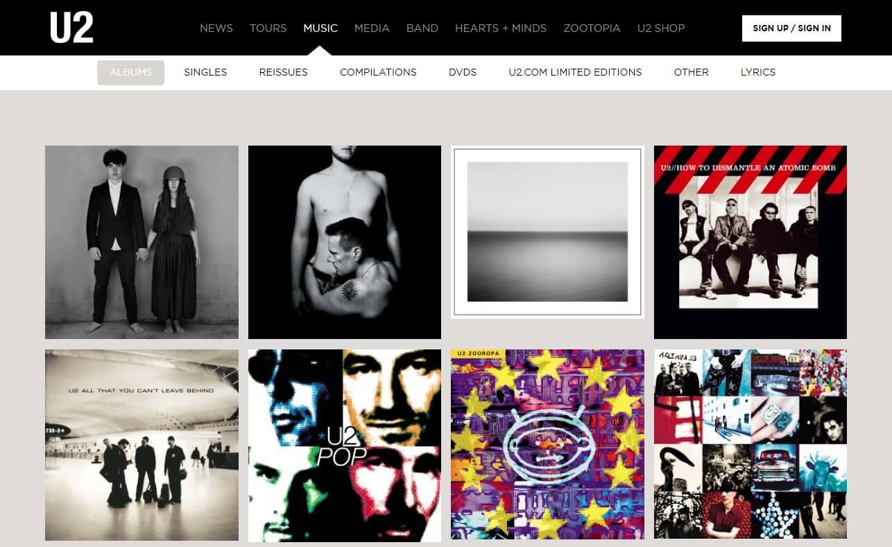 U2 > HomeのWEBデザイン